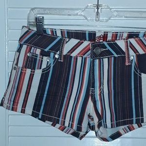 Almost Famous Striped Shorts Blue White Red NWOT